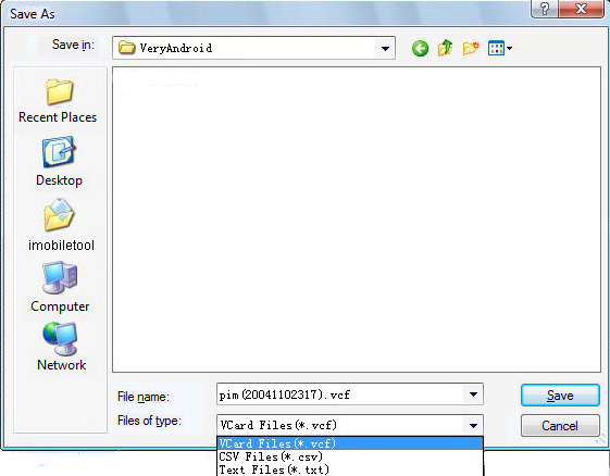 Contacts file format