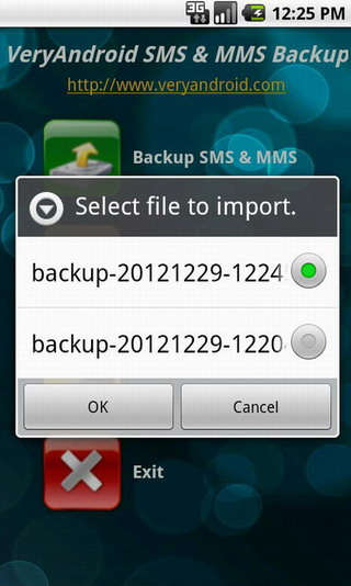 Restore Android SMS and MMS with VeryAndroid SMS & MMS Backup