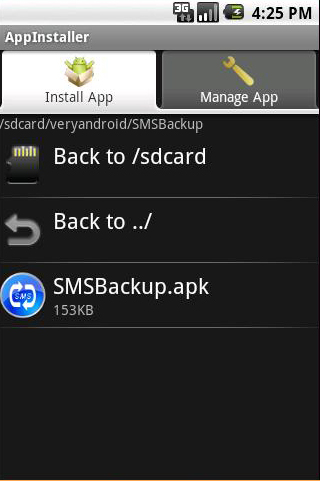 install VeryAndroid SMS Backup on your phone