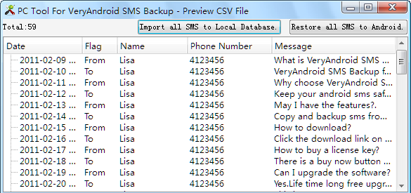 Import SMS to PC
