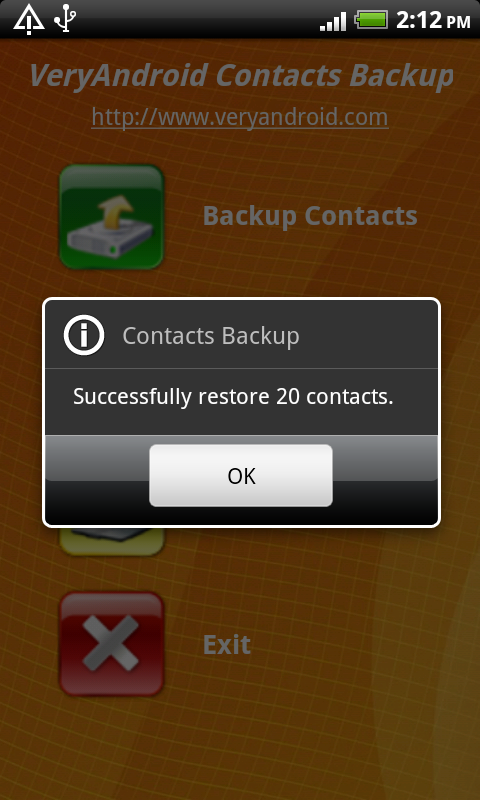 restore contacts to Android from SD card