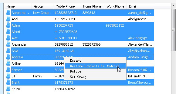 Transfer certain contacts from Nokia to Android