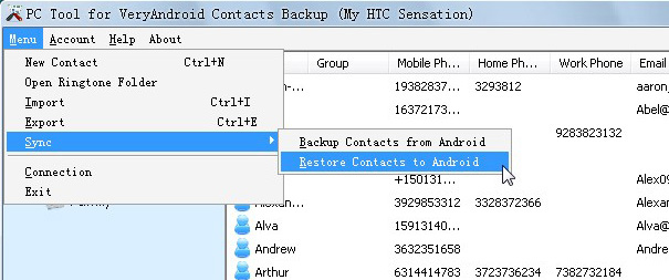 Transfer contacts from Nokia to Android