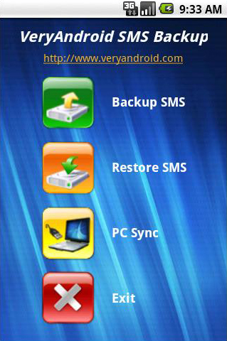 VeryAndroid SMS Backup screenshot