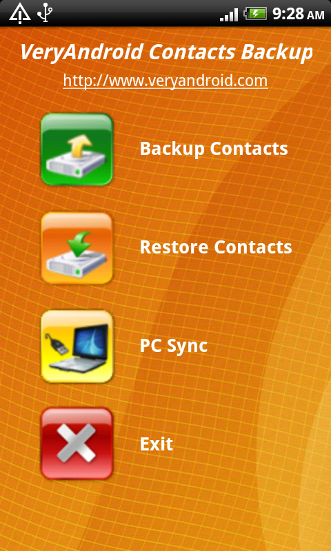 VeryAndroid Contacts Backup screenshot